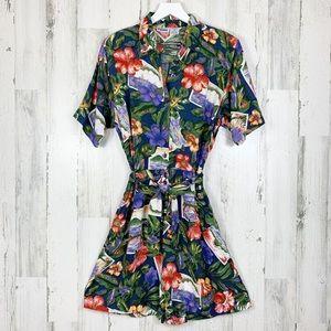 Vintage 90s Hawaiian Hibiscus Button Up Romper